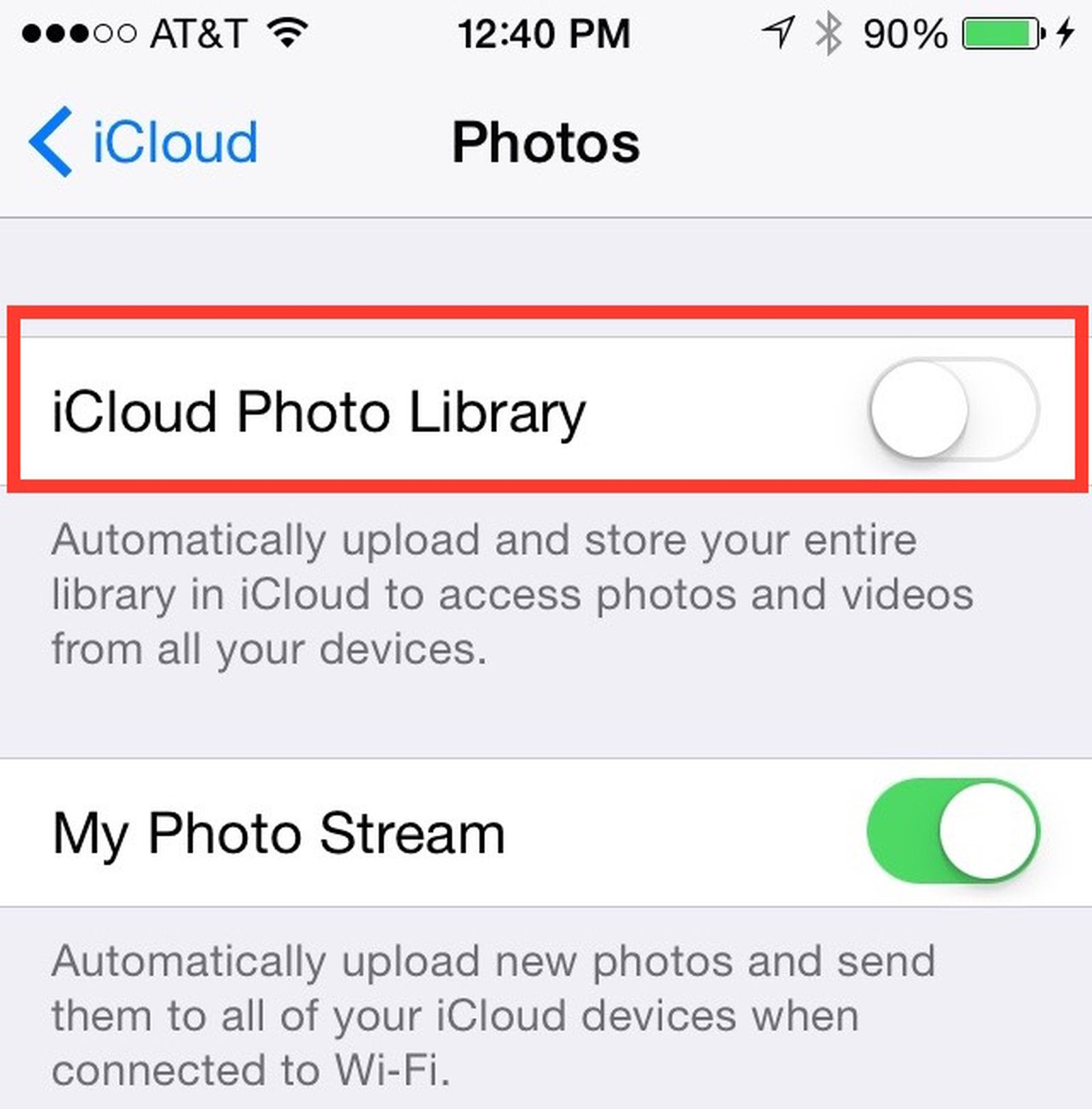 icloud photo upload stuck at 1 percent